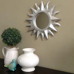 Mirror - decorative silver sun